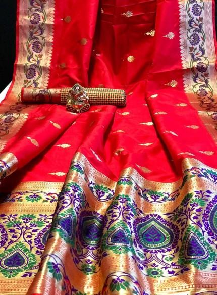 Red Banarasi Silk Beautiful Saree grabandpack