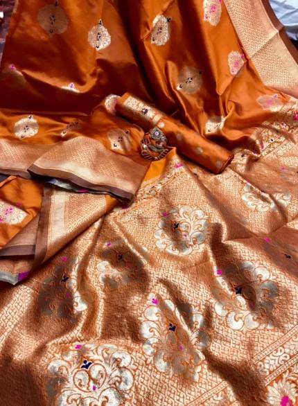 orange Banarasi Lichi Silk Saree grabandpack