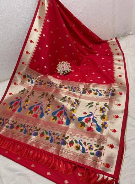 Red Pethani Silk Blend Festive Wear Saree