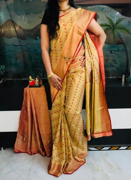 Pista Dola butti Saree With Heavy Rich Pallu - gnp009527