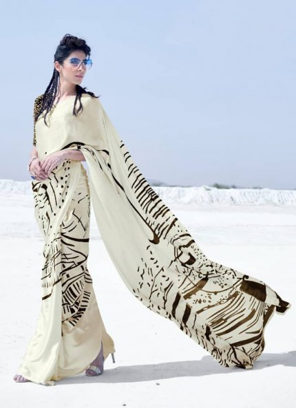 Cream Colored Printed Japanese Satin Crepe Saree - gnp008836