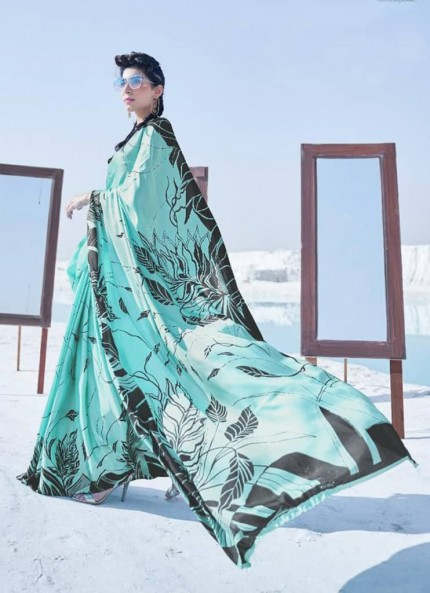 Green Colored Printed Japanese Satin Crepe Saree - gnp008845