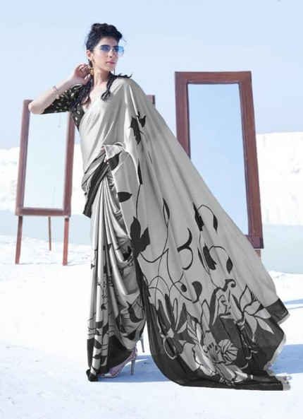 Grey Colored Printed Japanese Satin Crepe Saree - gnp008828
