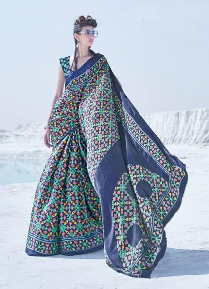 Multi Colored Printed Japanese Satin Crepe Saree - gnp008838