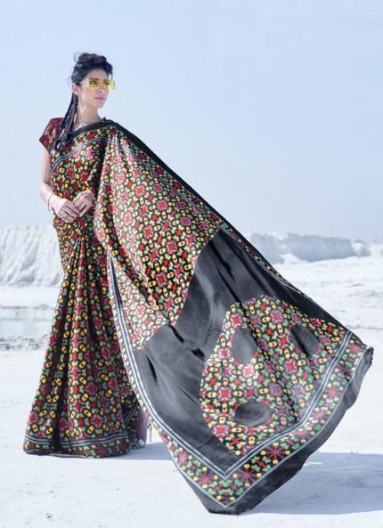 Multi Colored Printed Japanese Satin Crepe Saree - gnp008839
