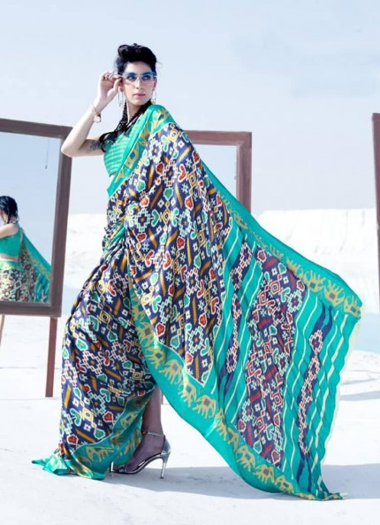 Multi Colored Printed Japanese Satin Crepe Saree - gnp008842