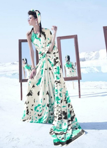 Off White Colored Printed Japanese Satin Crepe Saree - gnp008833