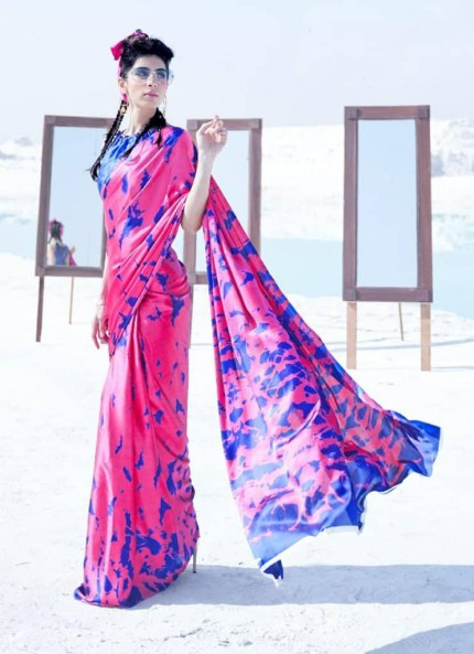 Pink Colored Printed Japanese Satin Crepe Saree - gnp008832