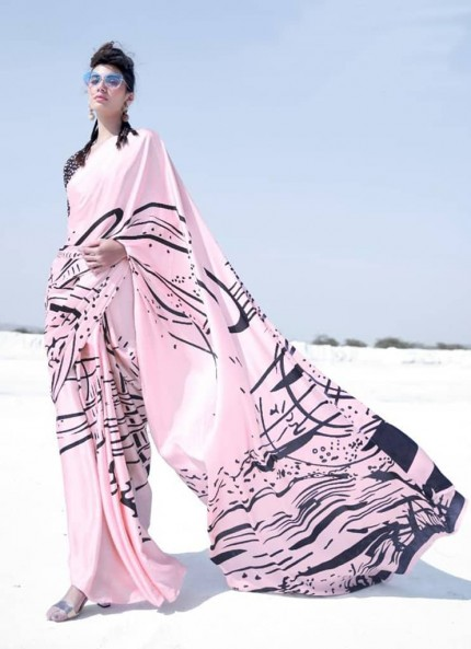 Pink Colored Printed Japanese Satin Crepe Saree - gnp008837
