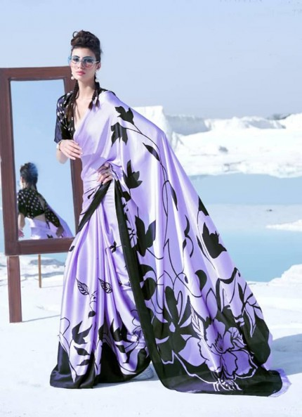 Purple Colored Printed Japanese Satin Crepe Saree - gnp008829