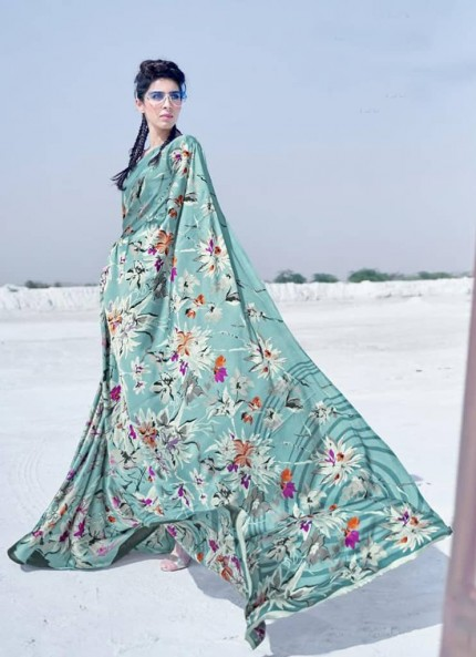 Sea Green Colored Printed Japanese Satin Crepe Saree - gnp008840