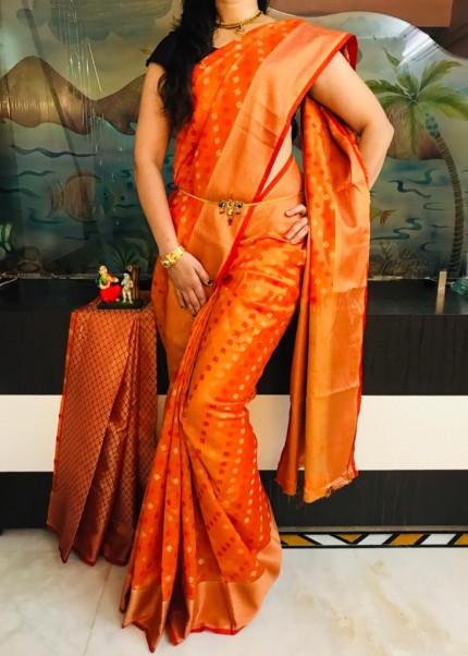 Orange Dola butti Saree With Heavy Rich Pallu - gnp009525