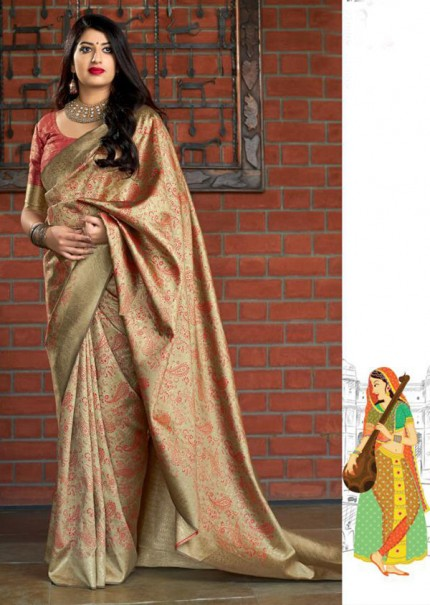 Beige Colored Pure Banatasi Silk Wedding Saree