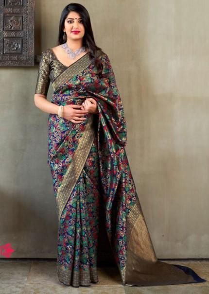 Blue Colored Pure Banatasi Silk Wedding Saree