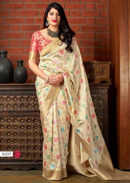 Cream Colored Pure Banatasi Silk Wedding Saree