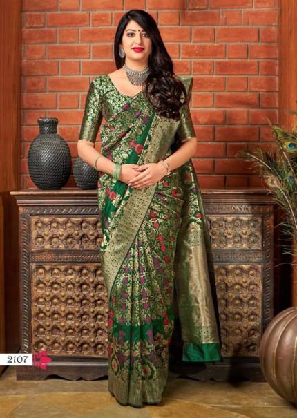 Green Colored Pure Banatasi Silk Wedding Sare