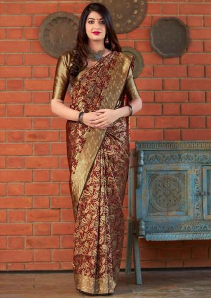 Maroon Colored Pure Banatasi Silk Wedding Saree