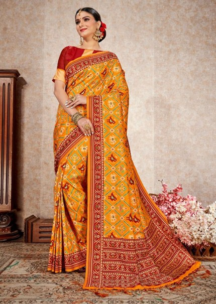 Alluring Yellow Colored Party Wear Printed Patola Soft Silk Saree - gnp006168