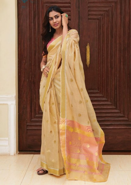 Beautiful Beige Chanderi With beautiful Weaving Saree