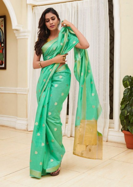 Beautiful Green Chanderi With beautiful Weaving Saree