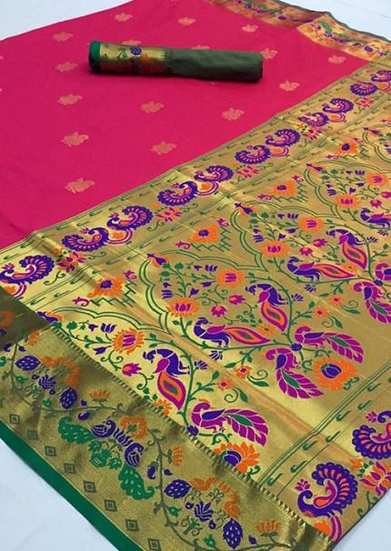 Beautiful lady Heavy Paithani silk weaving saree with contrast rich pallu