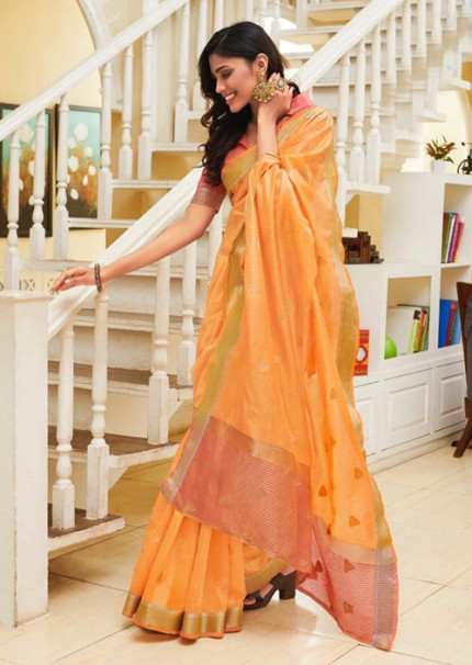 Beautiful Orange Chanderi With beautiful Weaving Saree
