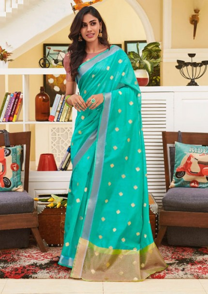 Beautiful Rama Chanderi With beautiful Weaving Saree - gnp005497