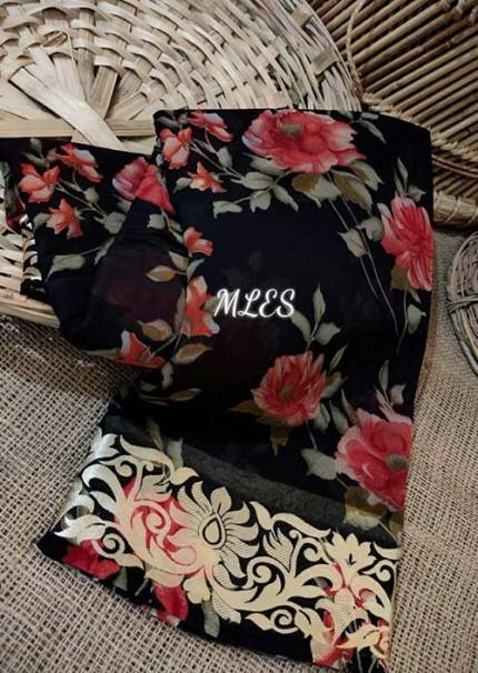 Black Chiffon blend Georgette Saree with Resham weaving border and striped Pallu - gnp006191