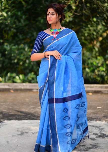Blue Colored Soft Cotton Weaving Saree with Resham Woven - gnp006229