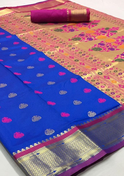 Blue Paithani Silk Traditional Saree