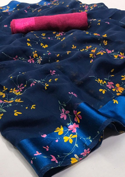 Blue Printed Linen Silk Saree from Online Clothing Store