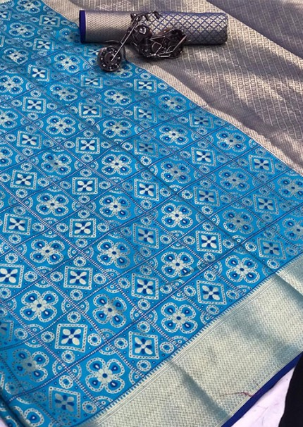 Buy Blue Colored Patola Silk saree online at best price