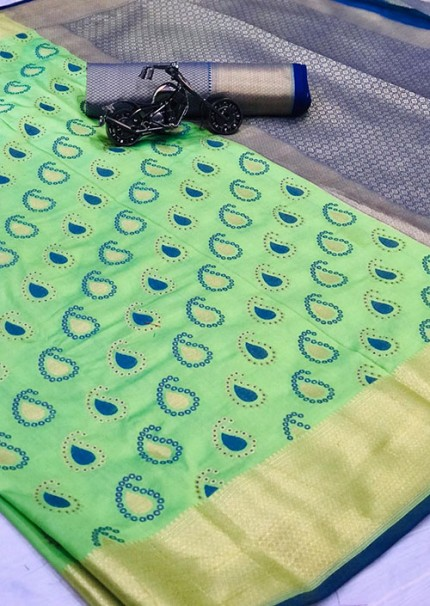 Buy Green Colored Patola Silk saree online at best price