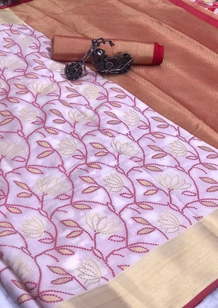 Buy Off White Colored Patola Silk saree online at best price