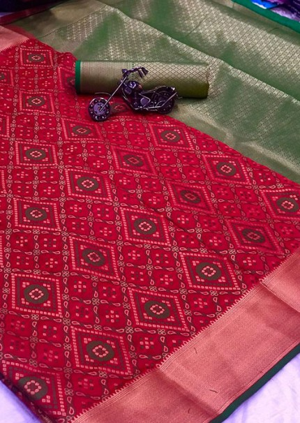 Buy Pink Colored Patola Silk saree online at best price