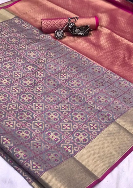 Buy Purple Colored Patola Silk saree online at best price