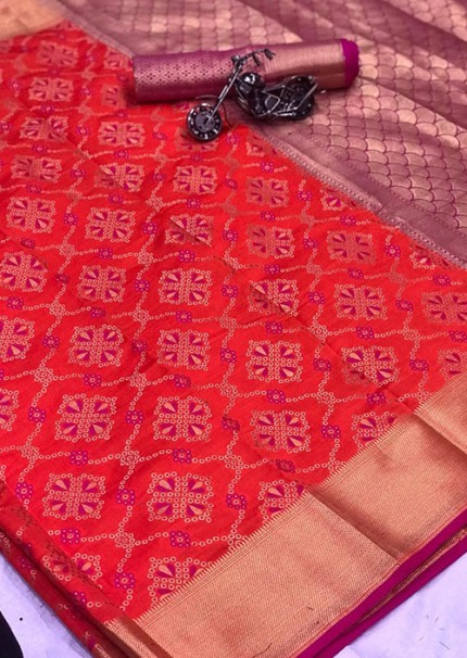 Buy Rani Colored Patola Silk saree online at best price