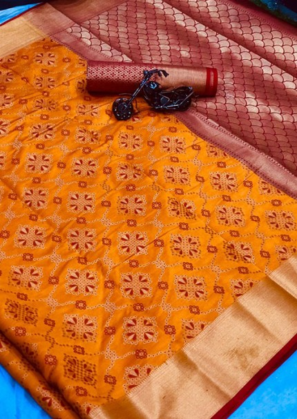 Buy Yellow Colored Patola Silk saree online at best price