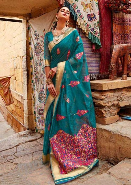 Charismatic Sea Green Colored Linen Colorful Weaving Saree - gnp006083