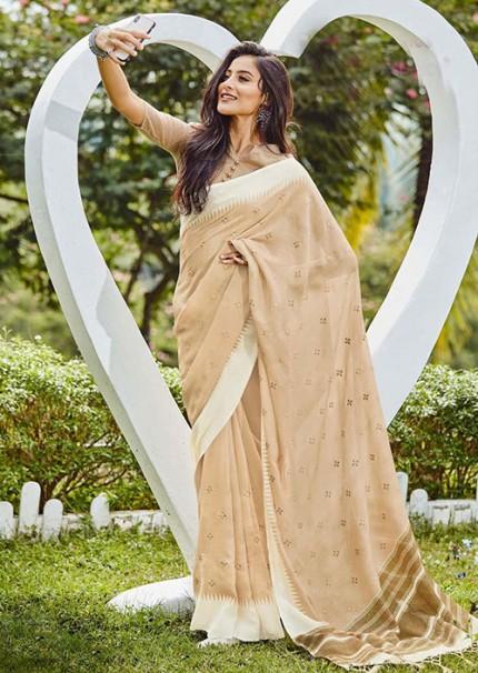 Gorgeous Beige Linen With Embroidered Wedding Wear Saree - gnp006062