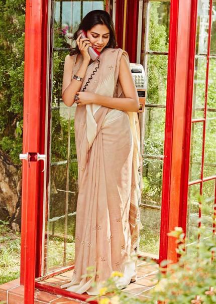 Gorgeous Beige Linen With Embroidered Wedding Wear Saree - gnp006063