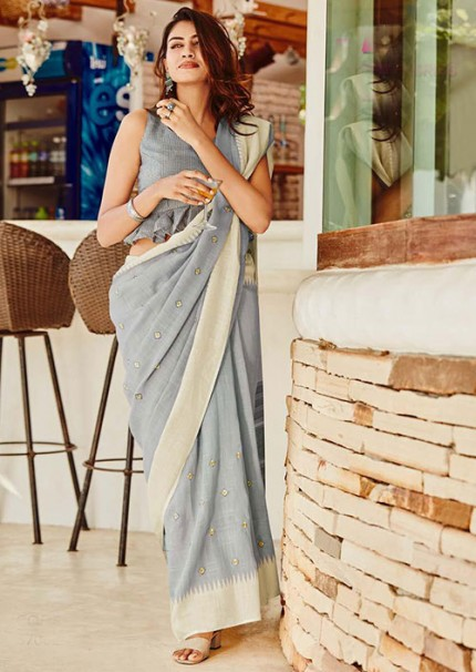 Gorgeous Grey Linen With Embroidered Wedding Wear Saree - gnp006061