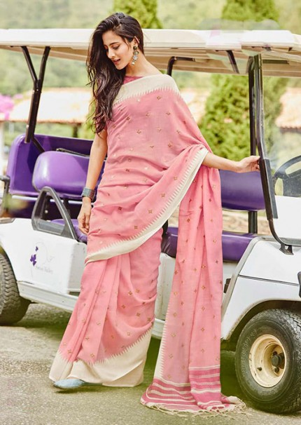 Gorgeous Pink Linen With Embroidered Wedding Wear Saree - gnp006064