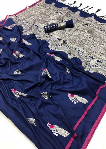 Grab and Pack Lichi Silk weaving zari silk saree in Blue - silk sarees Online gnp005890