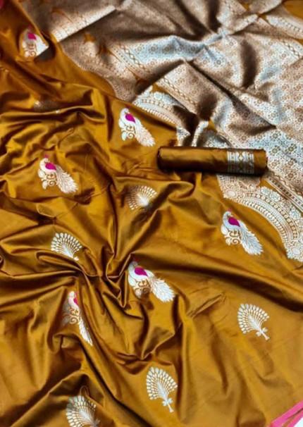 Grab and Pack Lichi Silk weaving zari silk saree in Mustard - silk sarees Online gnp005893