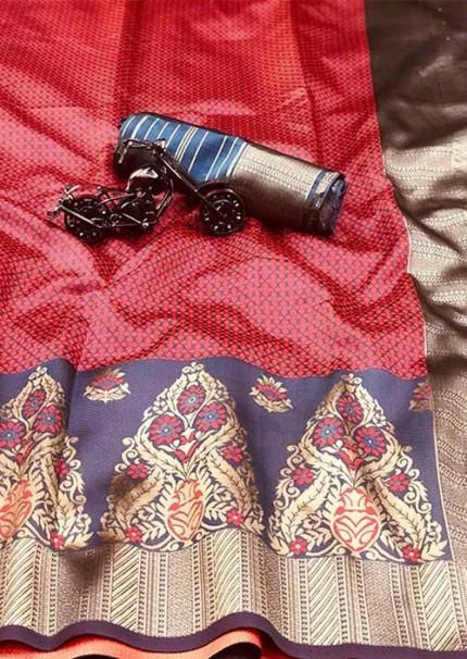 Gajri Soft cotton silk saree - cotton silk saree blouse designs gnp005687