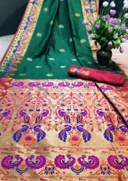 Green Paithani Silk Traditional Saree