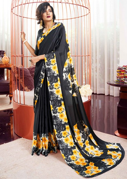 Multi Colored Printed Satin Japanese Crepe Saree in Best Quality