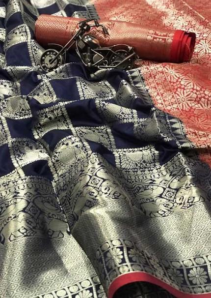 Women's lichi silk saree with weaving silver zari and nice extra ordinary design (Navy Blue) - gnp005874