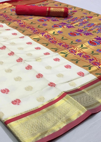 Off White Paithani Silk Traditional Saree